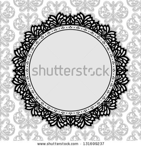 Lace Picture Frame Vintage Round Doily Stock Vector 131699237.