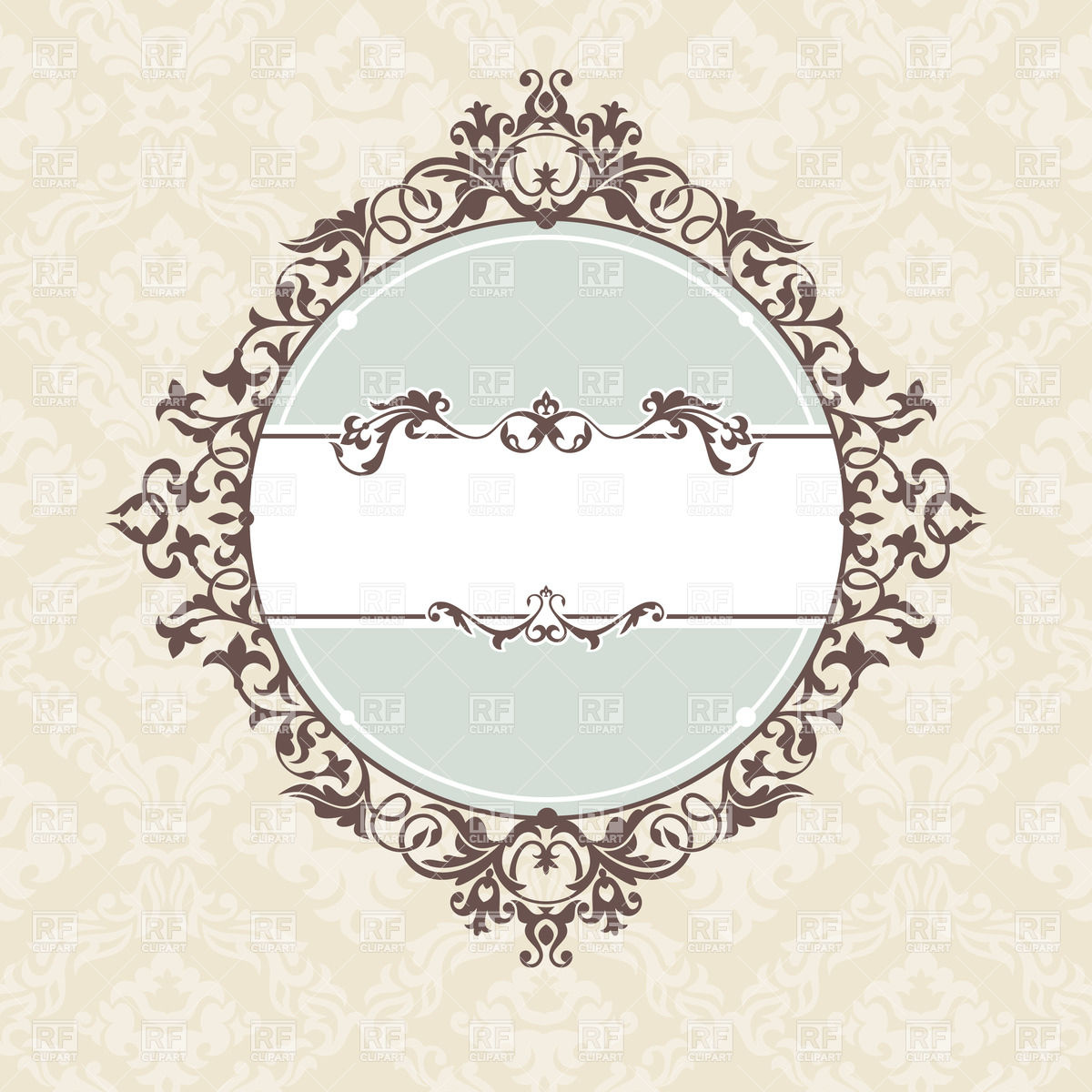Round and square vintage frames with curly elements on damask.