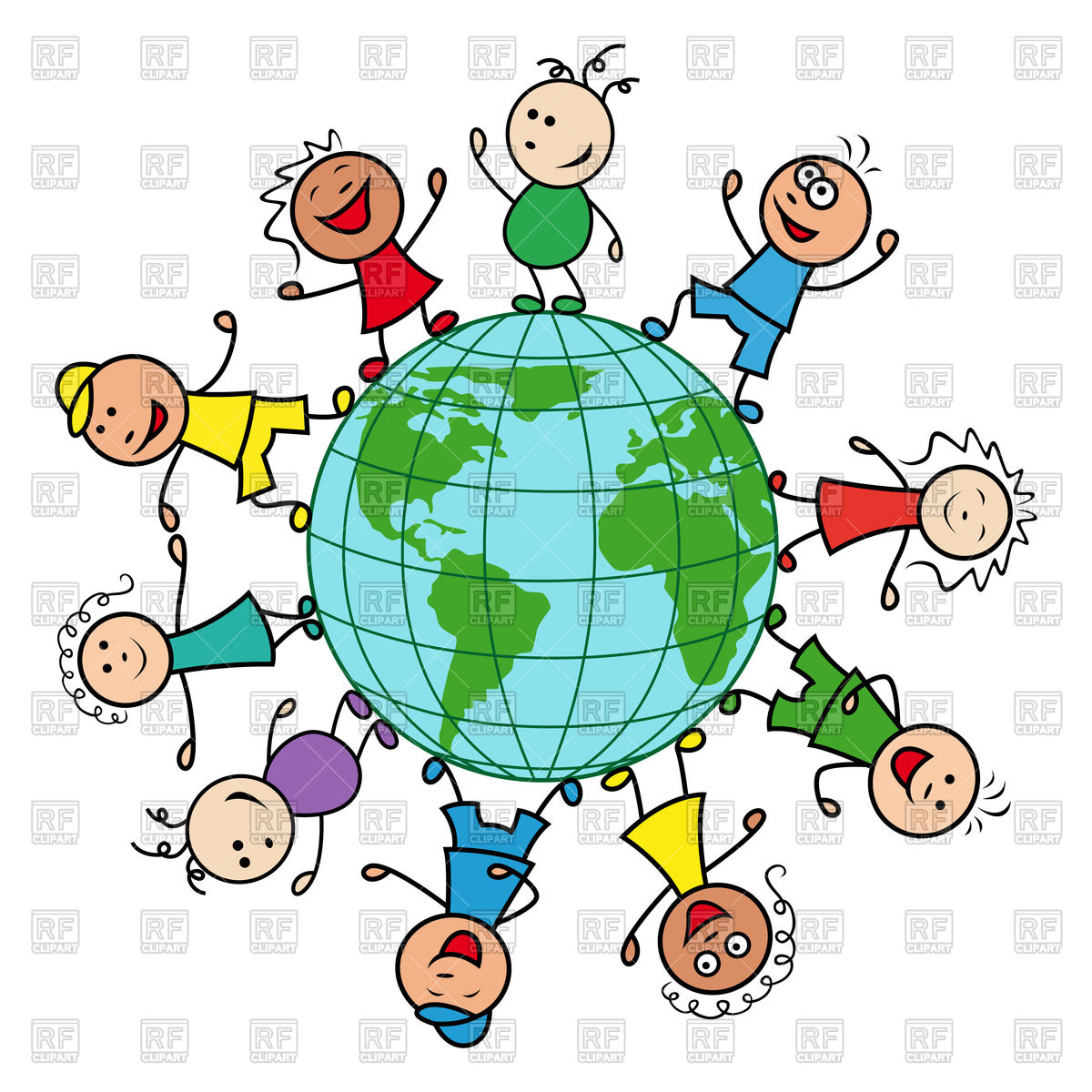 Happy children of different nationalities together around the.