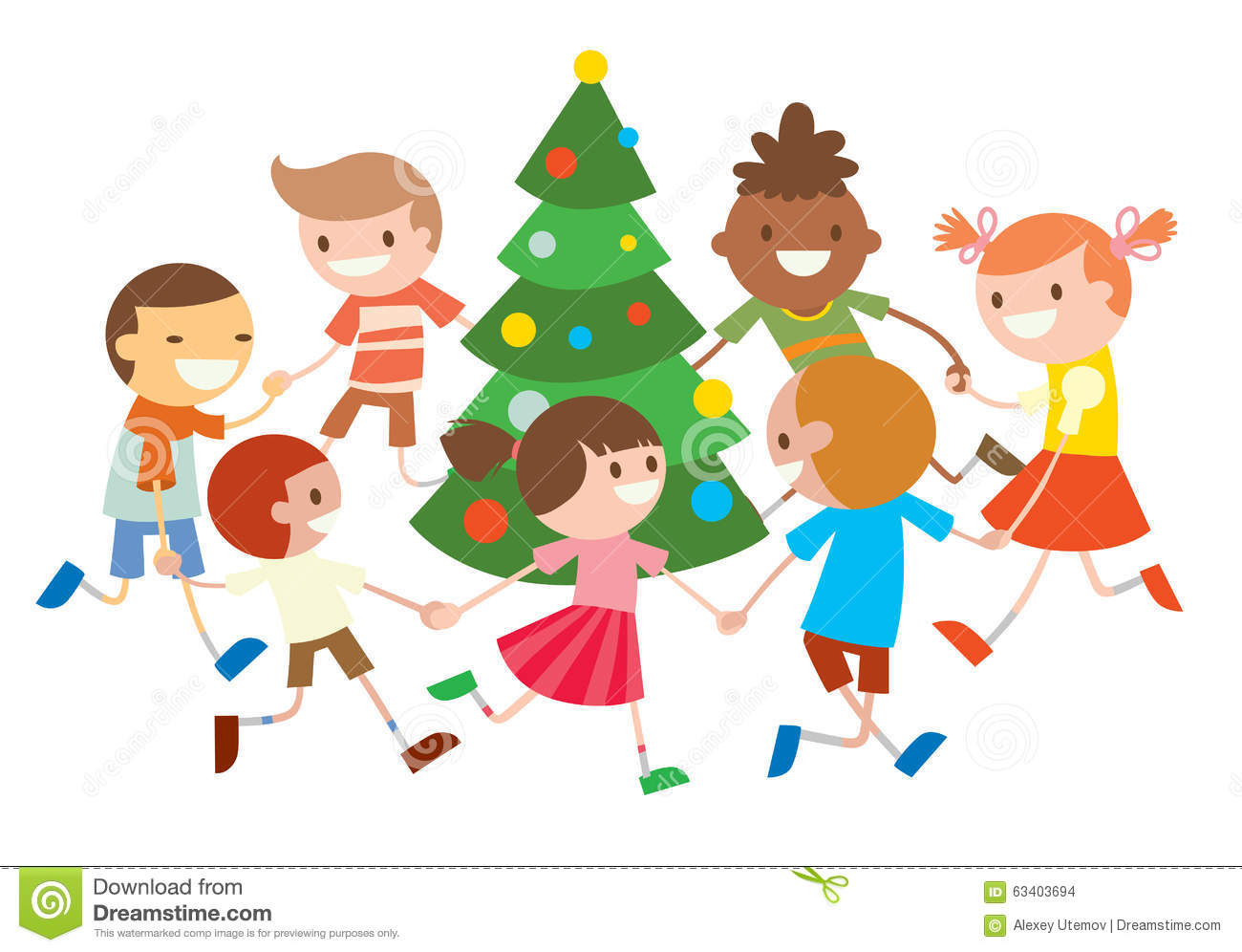 Children Round Dancing Christmas Tree In Baby Club Stock Vector.