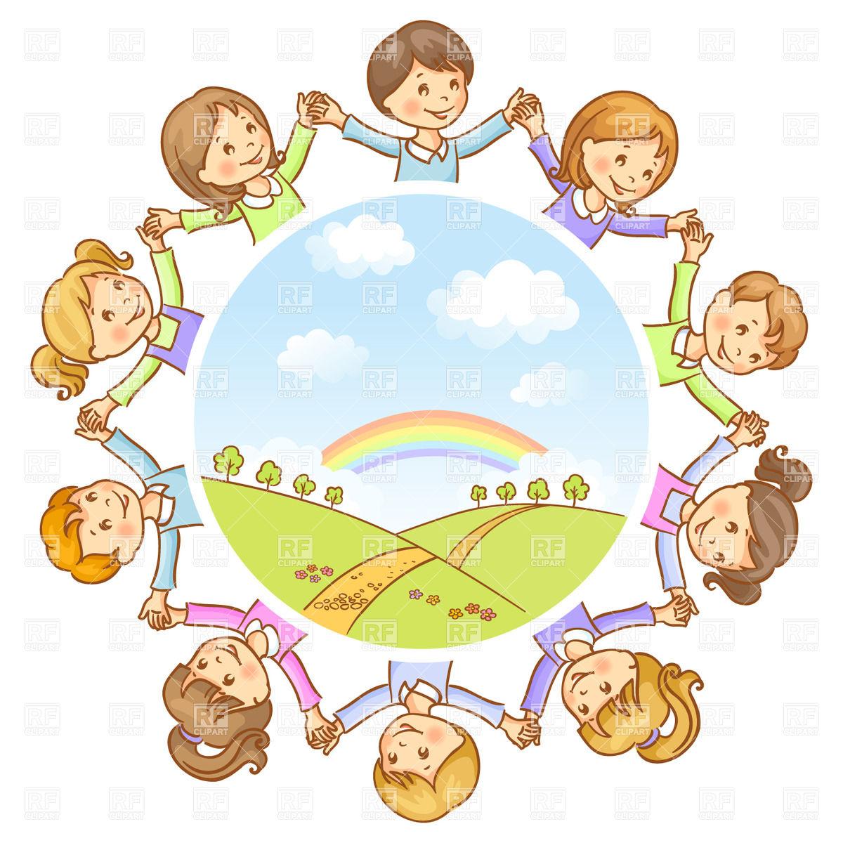 Round dance of happy children.