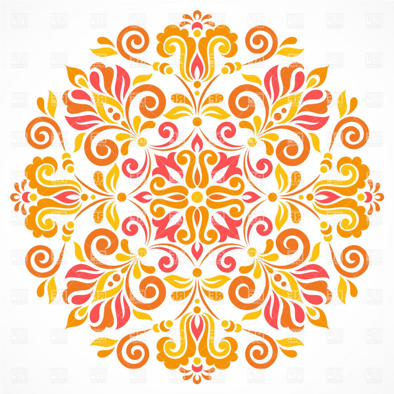 Ornate Round Design Element Floral Pattern Vector Clipart.