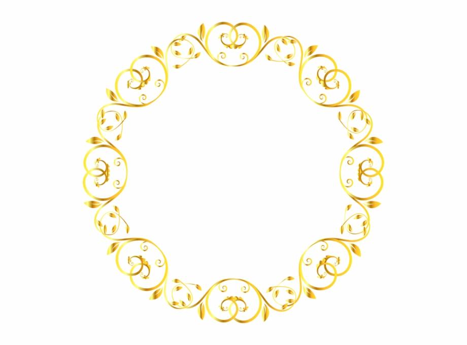 Decorative Round Border Frame Clip Art Image.