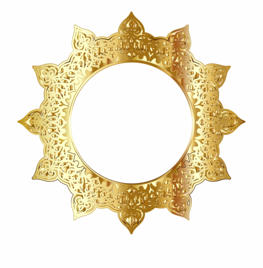 Golden Round Frame Png Picture.