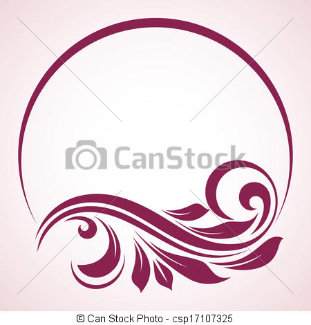 Vector Illustration of Vintage round frame. Floral background.