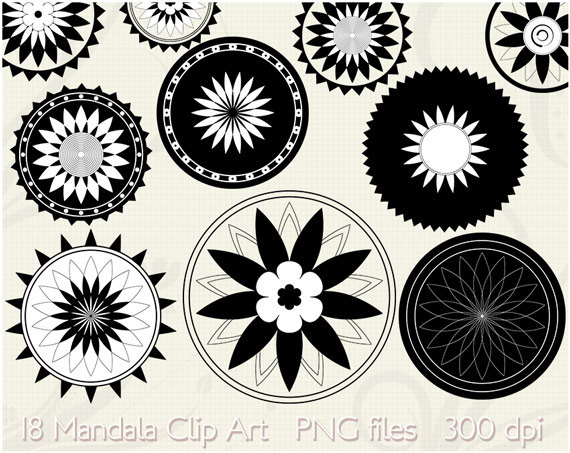 18 Mandala Clip Art Lotus Flower Clipart Printable Digital.