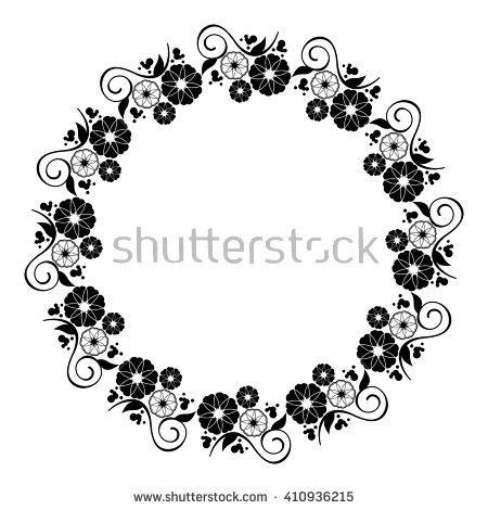 Round Flower Frame Decorative Flowers Arranged Stock Vector.