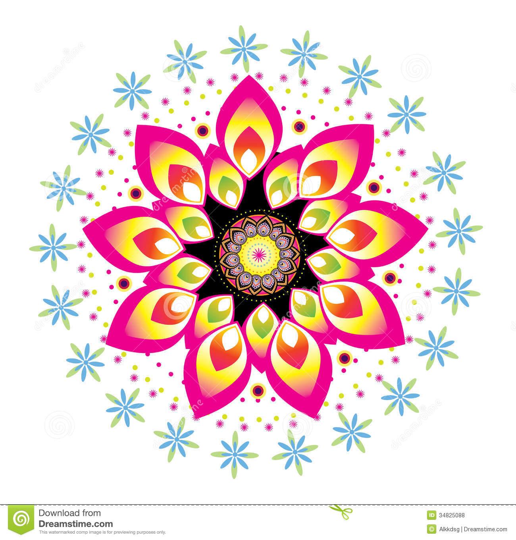 Round Flower Design Clipart.