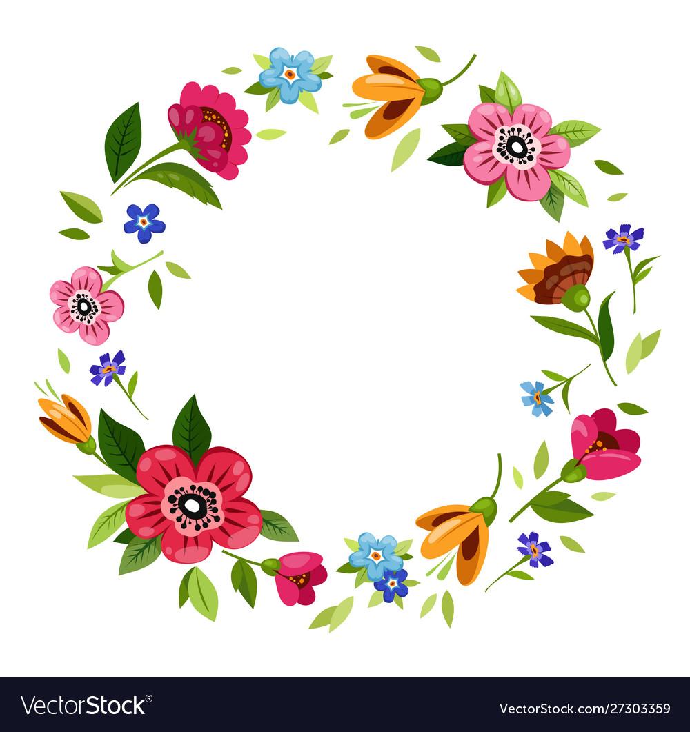 Round flower frame for invitation t.