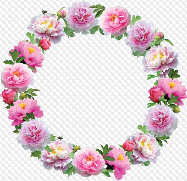 11 Round Flower Frames, clipart PNG, layered PSD.