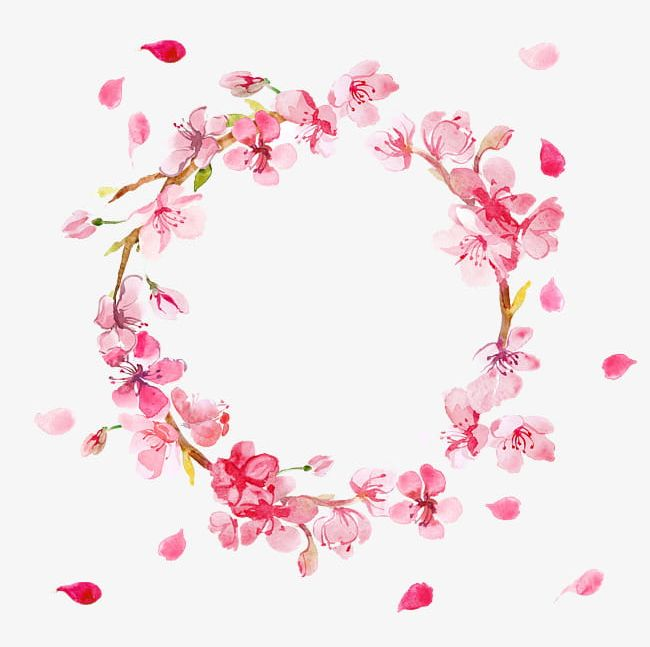 Pink Flowers Round Flower Ring Petals Falling PNG, Clipart.