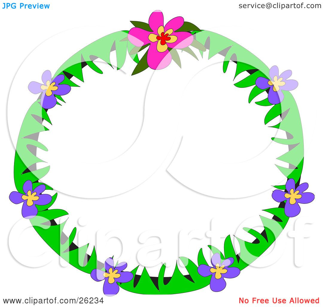 Clipart Illustration of a Round Stationery Border Of Green Leaves.