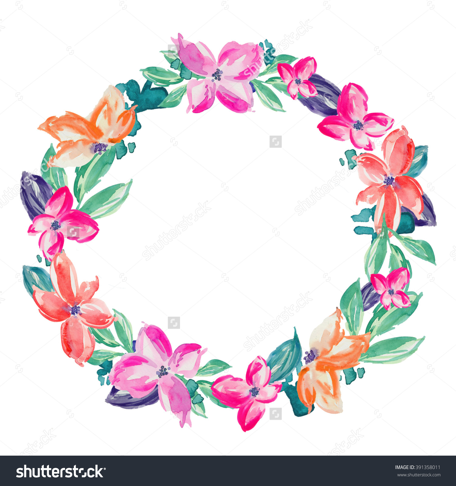 Watercolor Flower Wreath Background Round Flower Stock.
