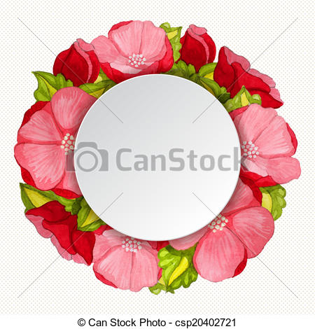 Vector Illustration of Round pink peony flowers vintage frame.