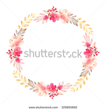 Floral Arrangement Round Wreath Flowers Design Stock Illustration.