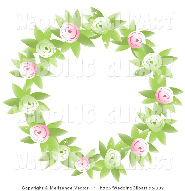 Vector Marriage Clipart of a Wedding Round Floral Wreath of Green.