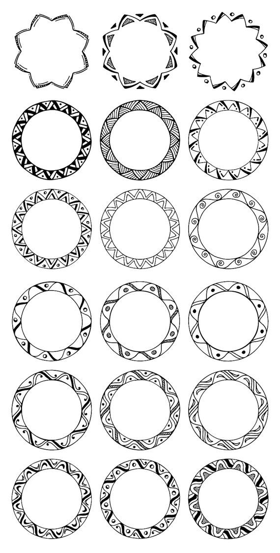 36 Hand Drawn Decorative Round Frames, Circle Borders.