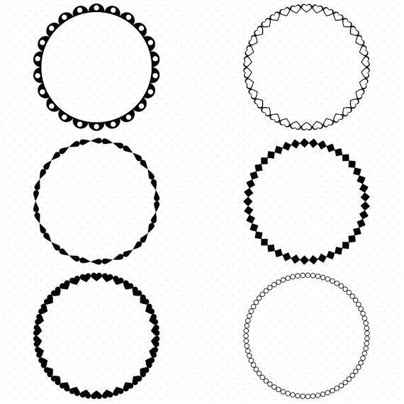 Circle Frames Clip Art, Round Frame Clip Art, Digital.