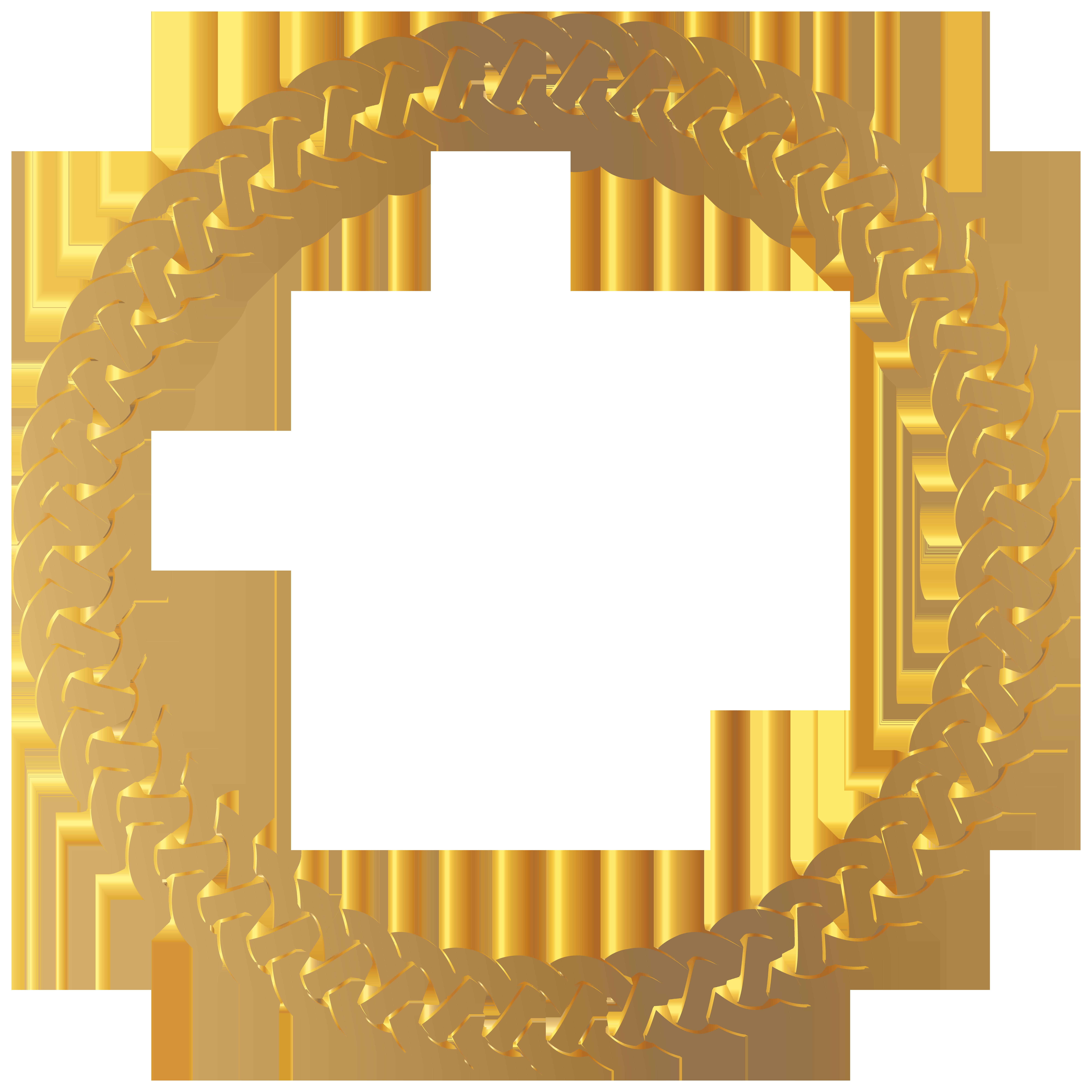 Golden Round Frame Border Transparent PNG Clip Art.