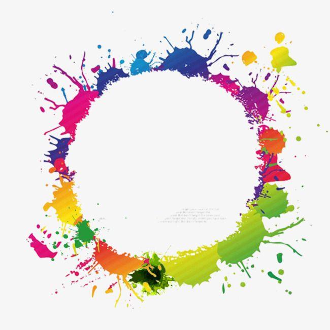 Border Color Ink, Color Circle Frame, Ink Border, Round.
