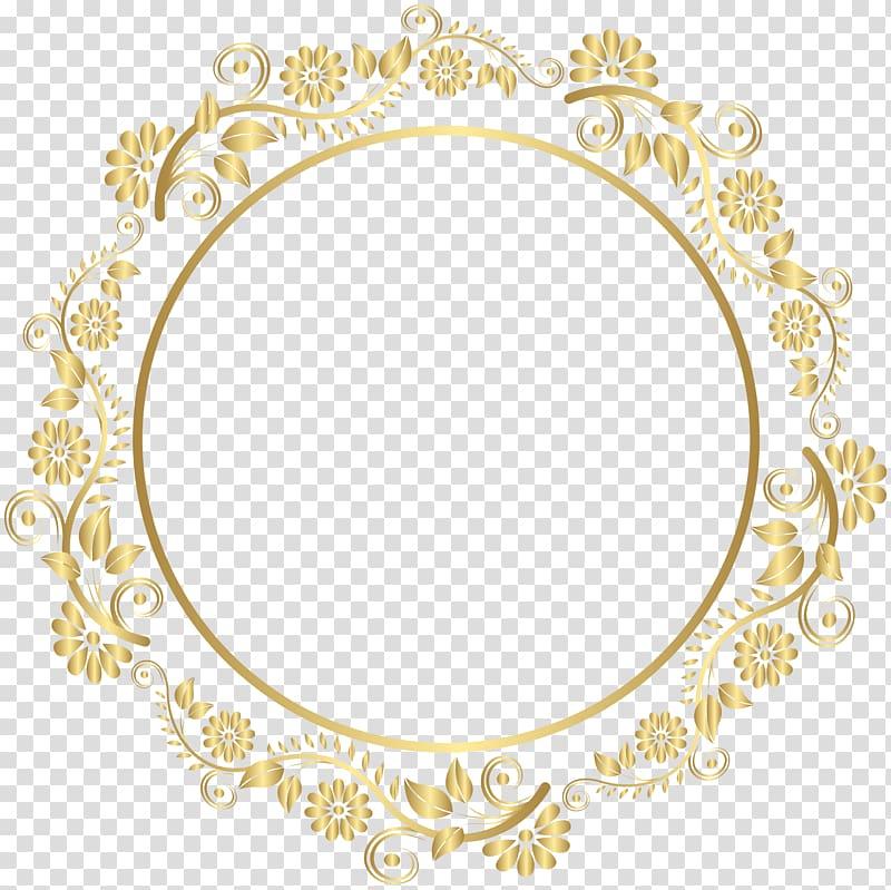 Round gold floral frame illustration, Gold Frames , round.