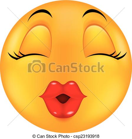 Vector Clip Art of Sexy red lip round smiling face car.