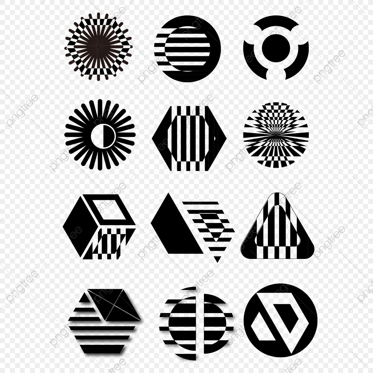 Black And White Circular Icon Elements, Round Icons, Black.