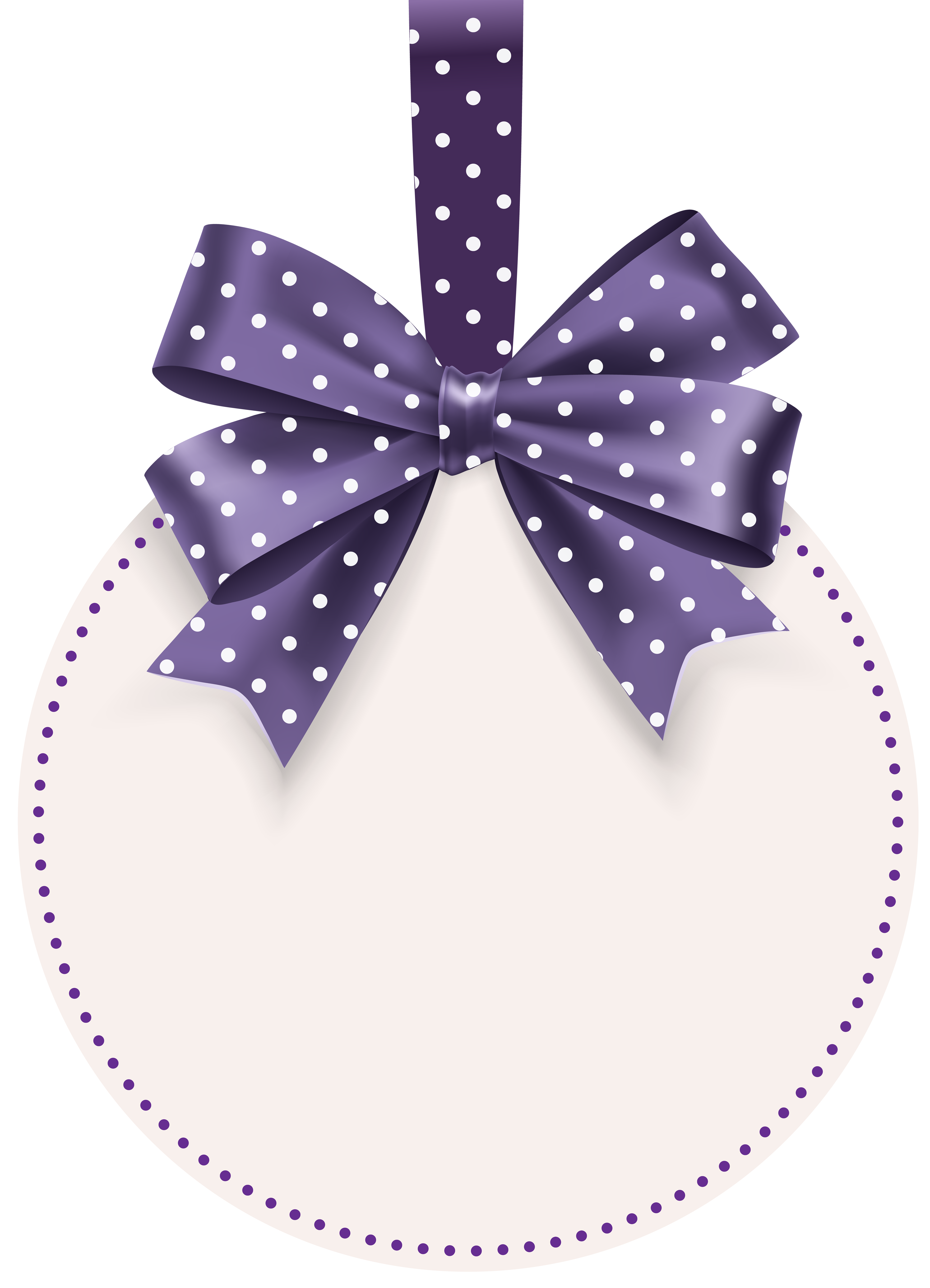 Round Label with Bow Template PNG Clip Art Image.