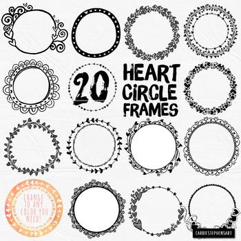 Valentine Heart Circle Frames Round Label ClipArt, Circle Borders Line Art.