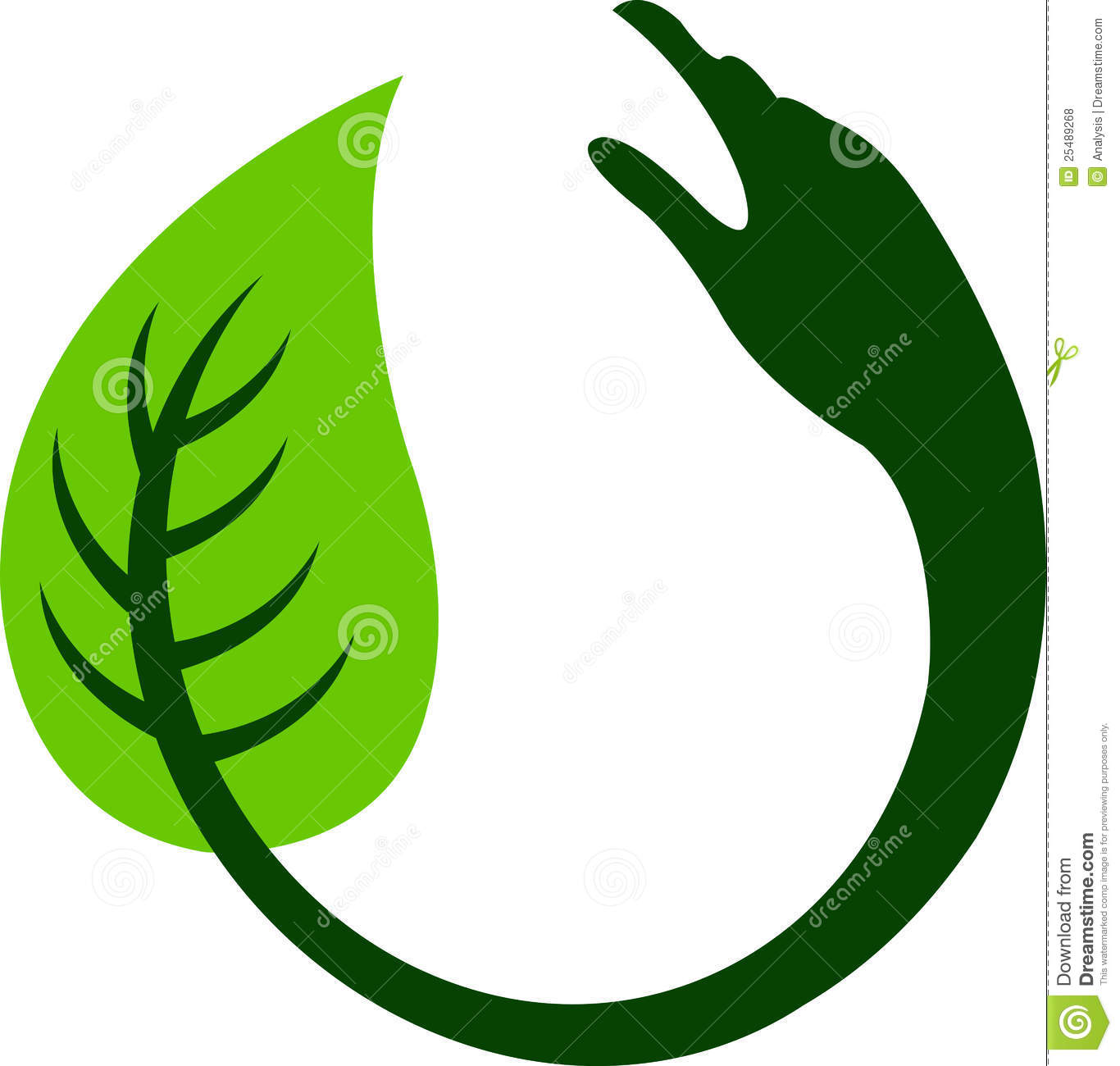 Hand Leaf Round Logo Royalty Free Stock Photos.