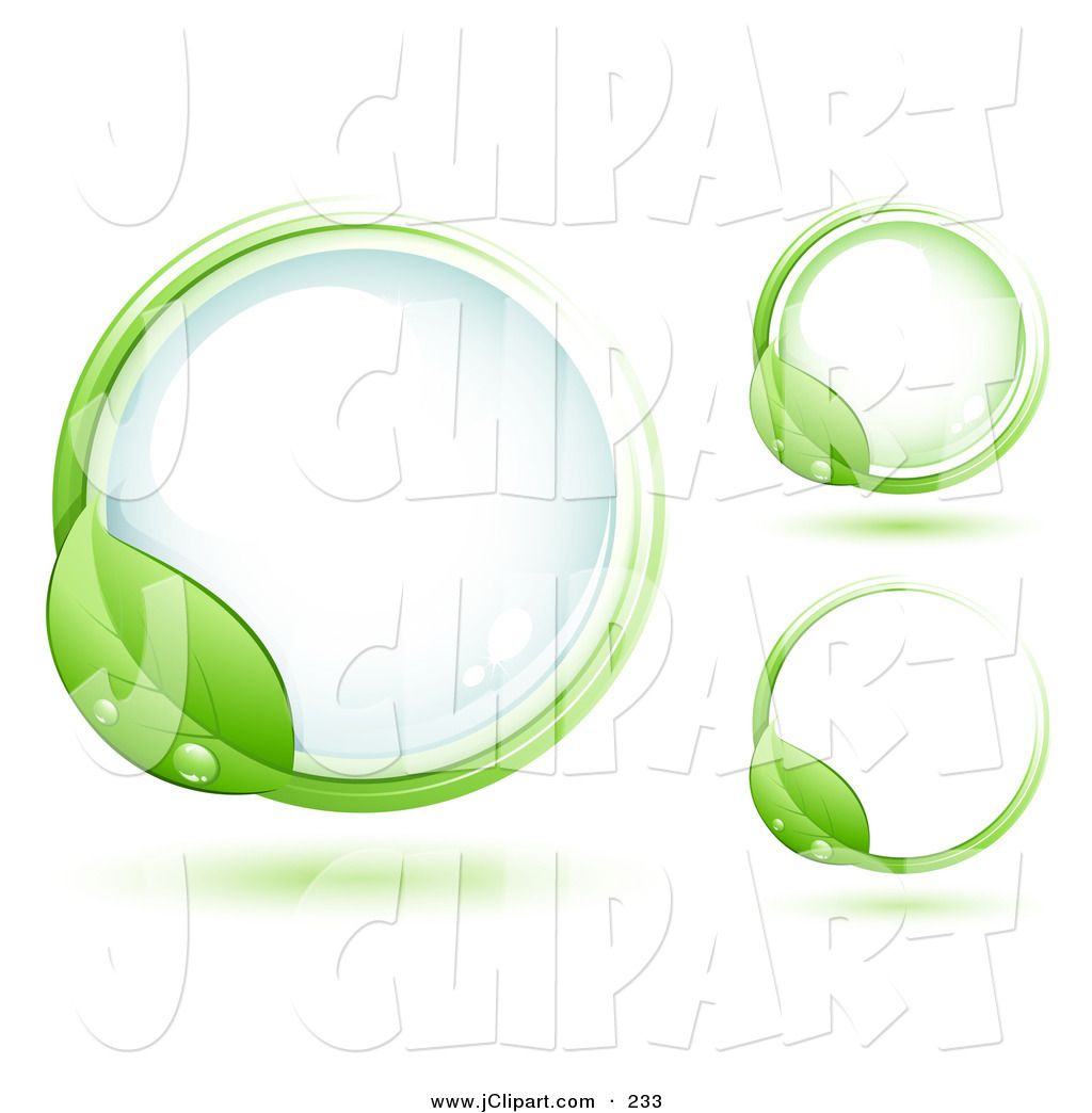 Vector Clip Art of a Green Leaf Wet with Dew, Circling a Round a.