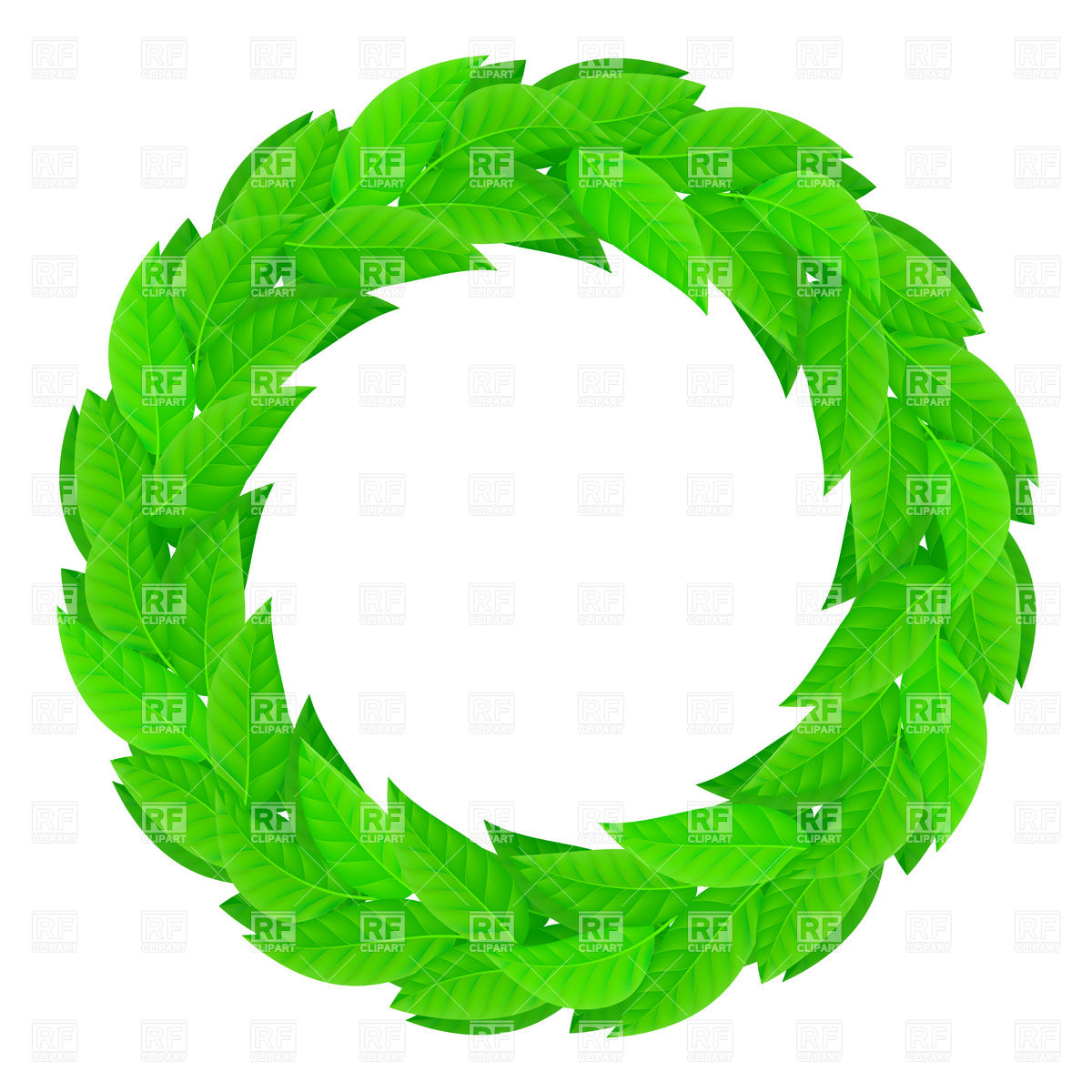 Round laurel wreath of green leaves Vector Image #8509.