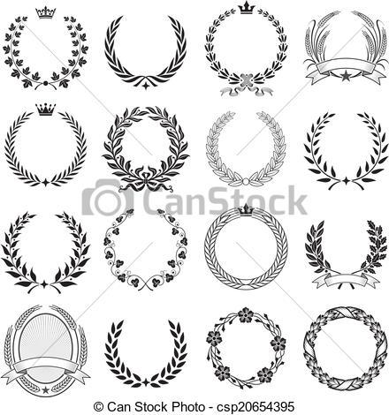 EPS Vectors of Laurel Wreath round Ceremonial Frames..