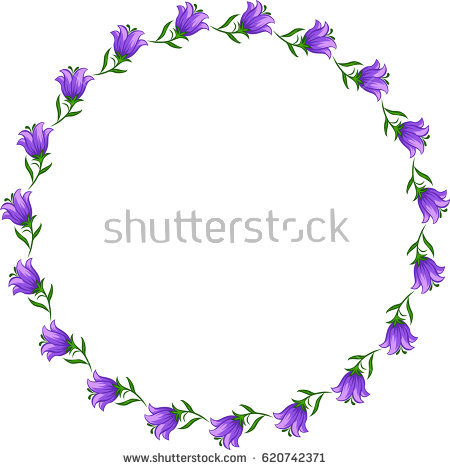 Bellflowers Frame Stock Images, Royalty.