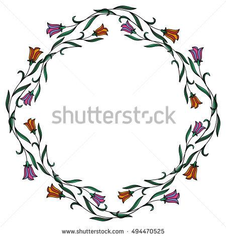 Bellflowers Frame Stock Photos, Royalty.