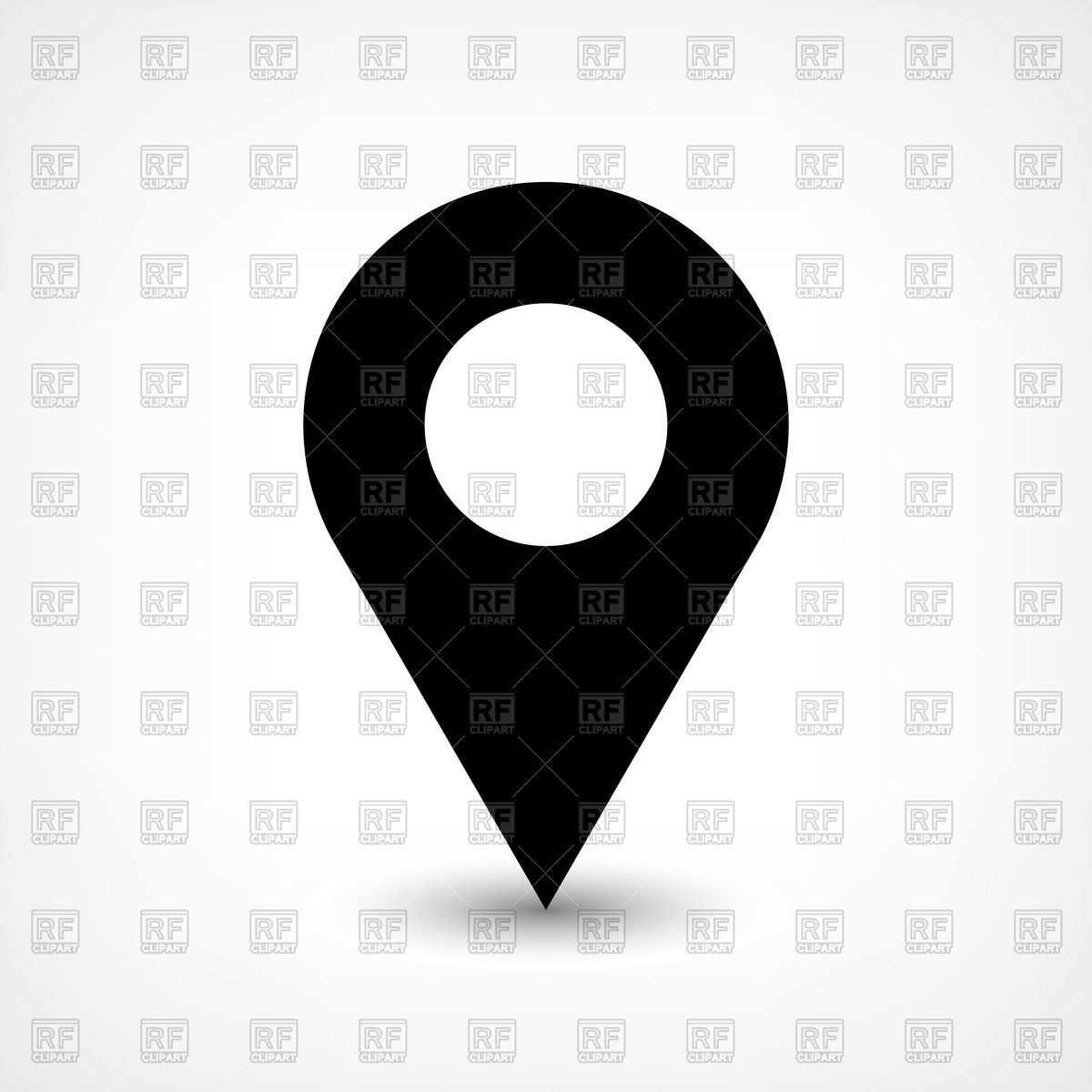 Round black map pin icon Vector Image #50419.