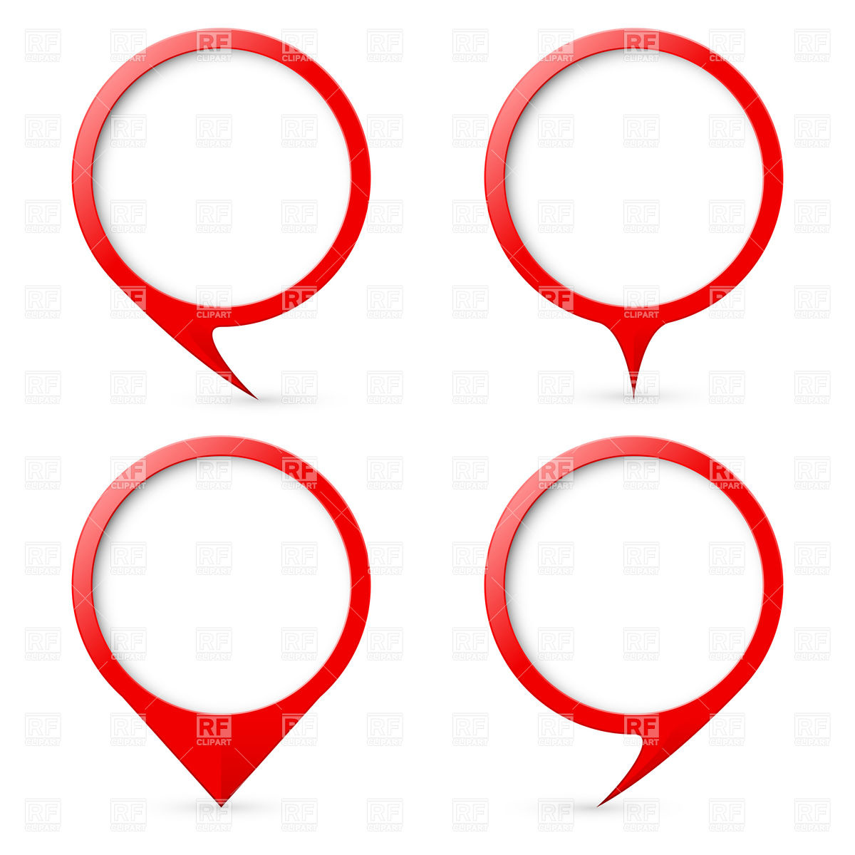Red round map markers and pointers Vector Image #9543.