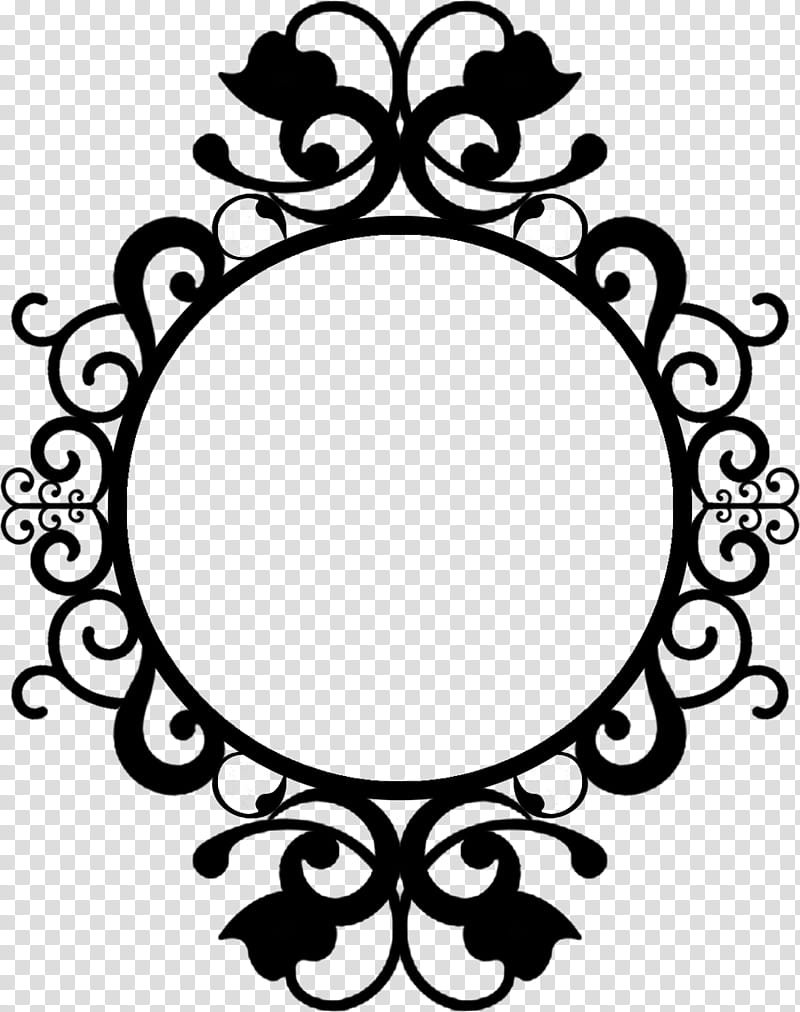 Frame D, round black and floral frame illustration.