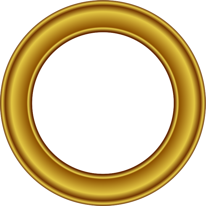 Golden Round Frame Png (+).