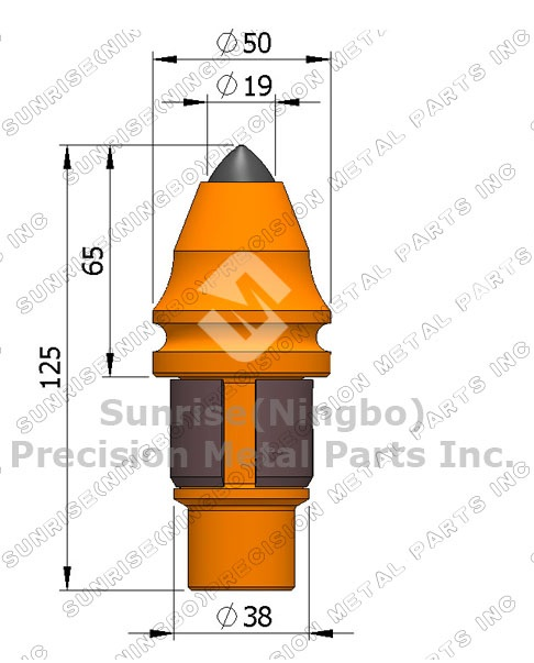B47k19h Tungsten Carbide Tipped Step Shank Betek Pick Conical.