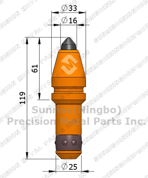 Auc40kh 25mm Round Shank Tungsten Carbide Tipped Trencher Rotary.