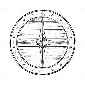 Photostock Vector Round Shield Of The Viking Is Decorated.