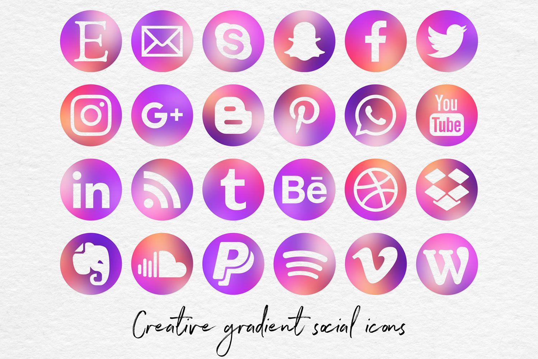 Creative Gradient Social Media Icons, Multicolored Social.