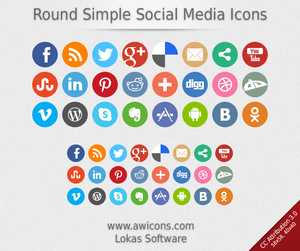 Round Simple Social Media Icons.
