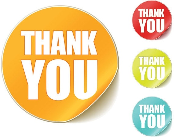 Thank you clip art round stickers Free vector in.