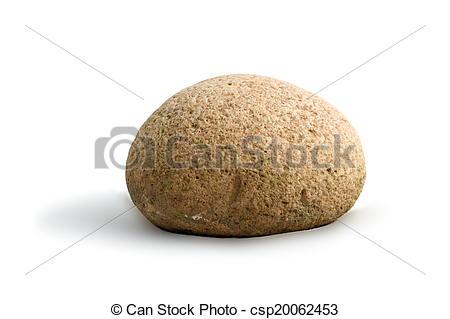 Stock Images of round stone on white background.