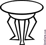 Round End Table Clipart.
