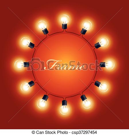 Clipart Vector of Round frame of light bulbs.