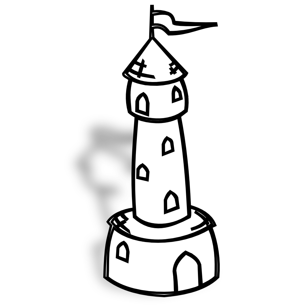 Rpg Map Symbols Round Tower With Flag Black White Line Art.