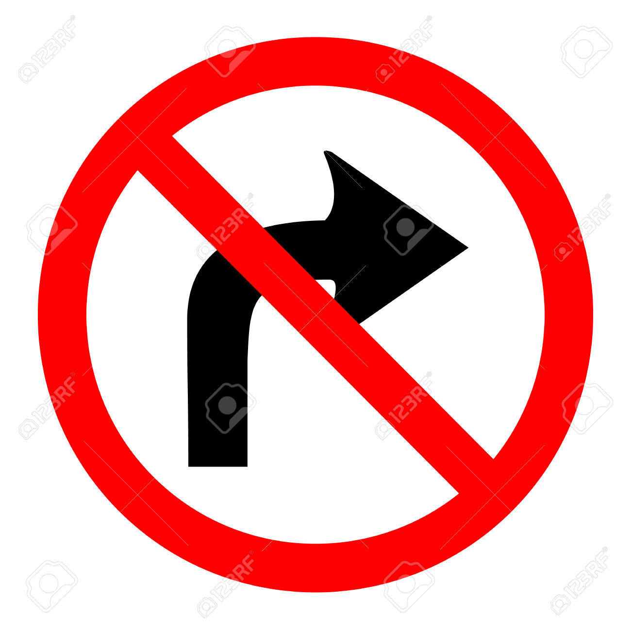 Illustration Of No Right Turn Round Sign On White Background.